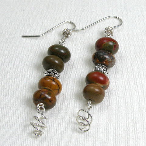 Picture Jasper Gemstone and Silver Earrings (E0118)