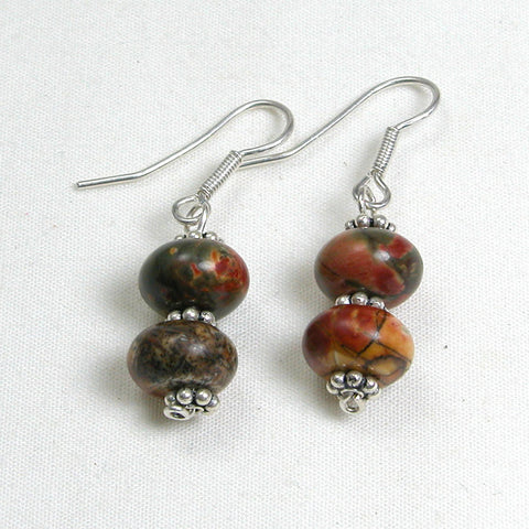 Picture Jasper Gemstone and Silver Earrings (E0119)