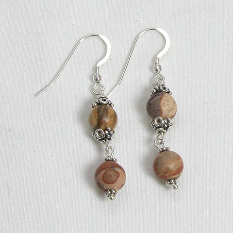 Desert Jasper Gemstone and Silver Earrings (E0048)