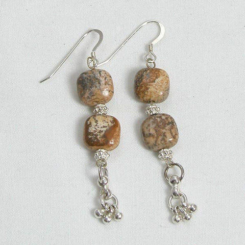 Desert Jasper Gemstone and Silver Earrings (E0045)