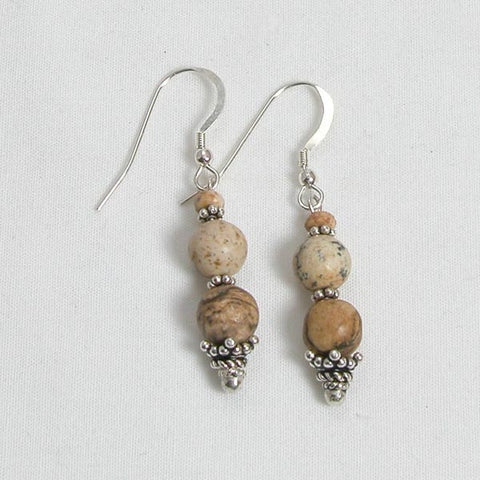 Desert Jasper Gemstone and Silver Earrings (E0044)