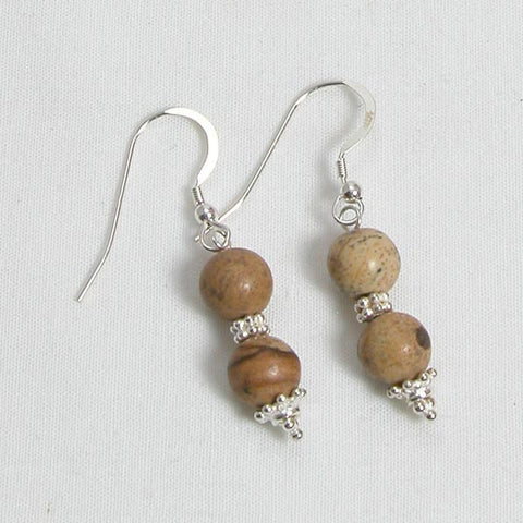 Desert Jasper Gemstone and Silver Earrings (E0046)