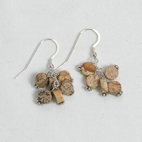 Desert Jasper Gemstone and Silver Earrings (E0047)