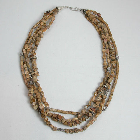 Desert Jasper Gemstone and Silver Necklace (N0014)