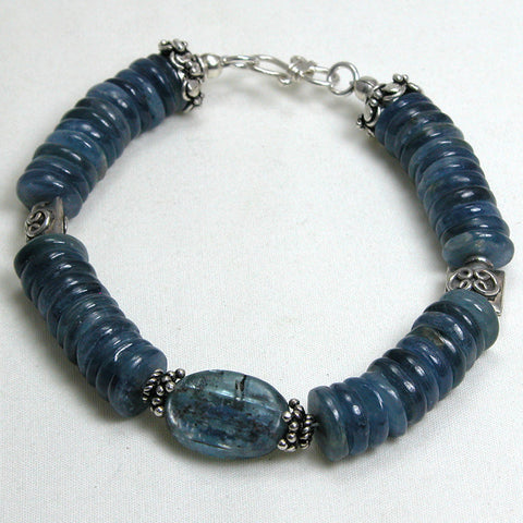 Kyanite Gemstone and Silver Bracelet (B0060)