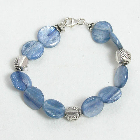 Kyanite Gemstone and Silver Bracelet (B0058)