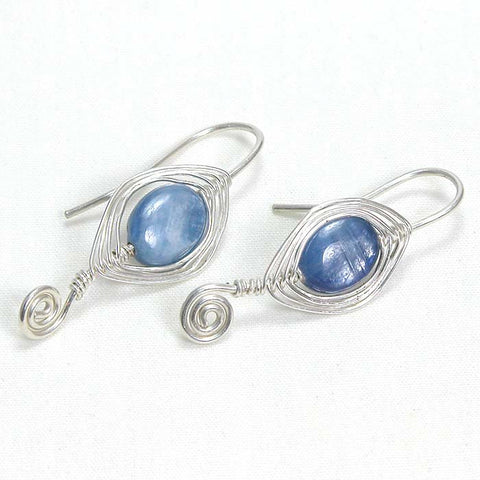 Kyanite Gemstone Silver Wire Earrings (E0081)