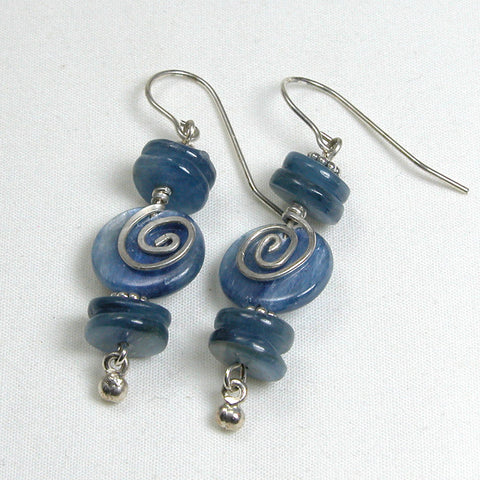 Kyanite Gemstone Silver Wire Earrings (E0076)