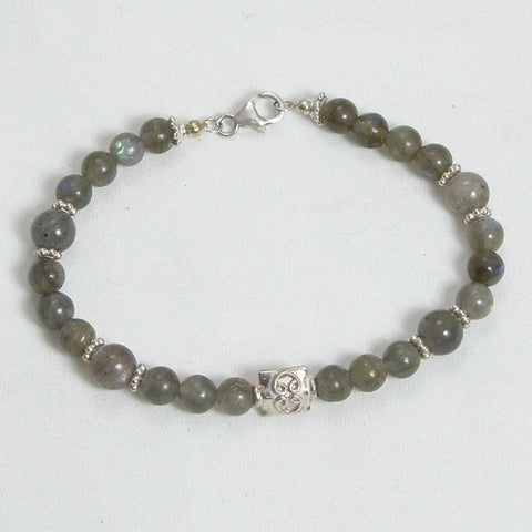 Labradorite Gemstone and Silver Bracelet (B0063)