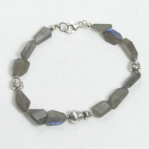 Labradorite Gemstone and Silver Bracelet (B0062)