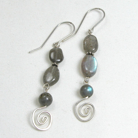 Labradorite Gemstone and Silver Earrings (E0083)