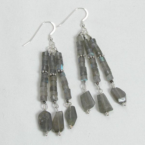 Labradorite Gemstone and Silver Earrings (E0084)