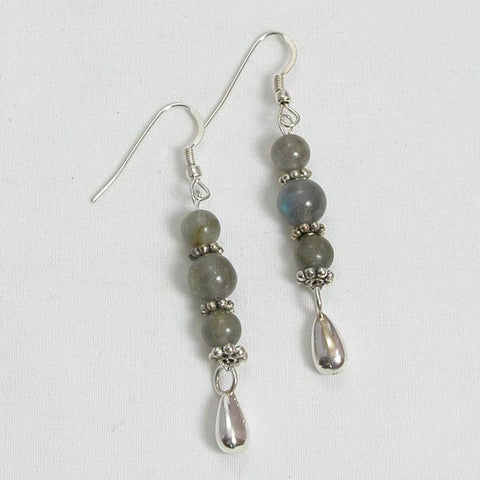 Labradorite Gemstone and Silver Earrings (E0085)
