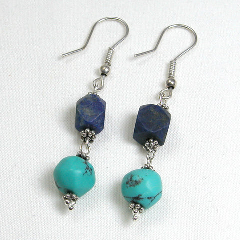Lapis and Turquoise Gemstone Earrings (E0087)