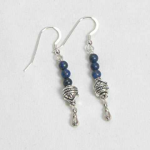 Lapis Gemstone and Silver Earrings (E0094)