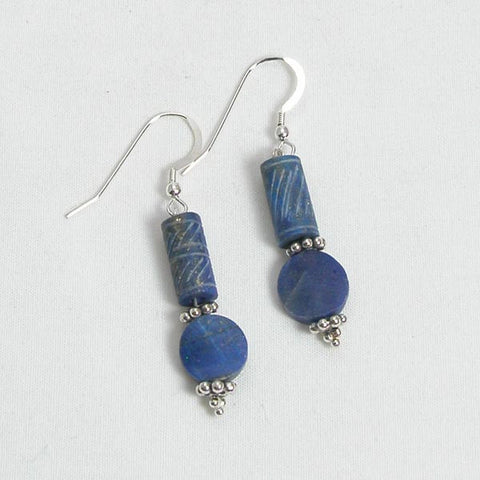 Lapis Gemstone and Silver Earrings (E0092)