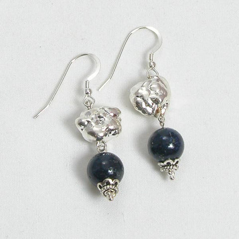 Lapis Gemstone and Silver Earrings (E0093)