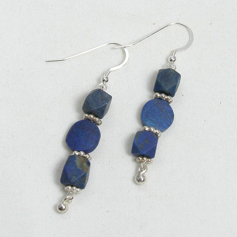 Lapis Gemstone and Silver Earrings (E0088)