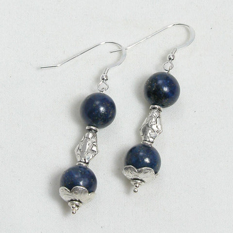 Lapis Gemstone and Silver Earrings (E0089)