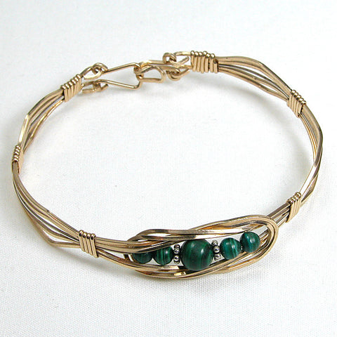 Malachite Gemstone Gold-filled Wire Bracelet (B0080)