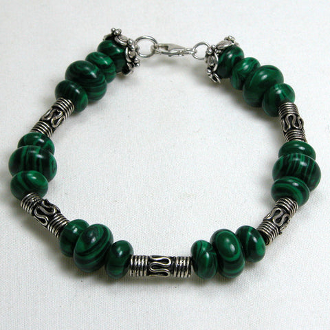 Malachite Gemstone and Silver Bracelet (B0081)