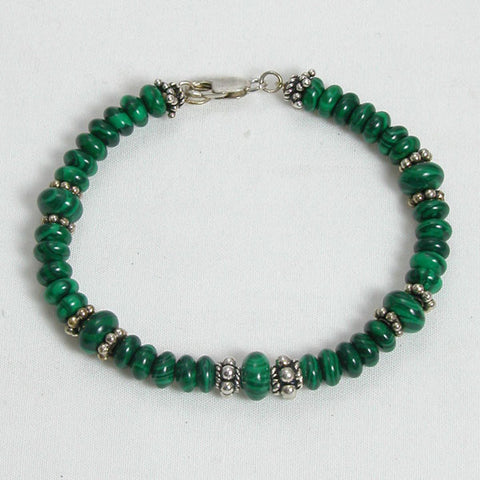 Malachite Gemstone and Silver Bracelet (B0079)