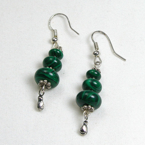 Malachite Gemstone and Silver Earrings (E0095)