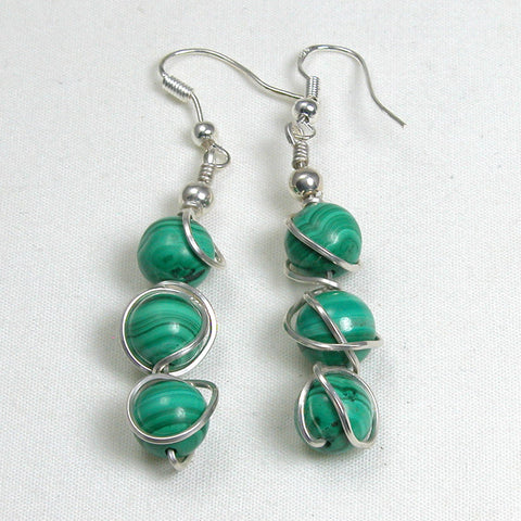 Malachite Gemstone Silver Wire Earrings (E0096)