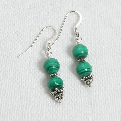 Malachite Gemstone and Silver Earrings (E0102)