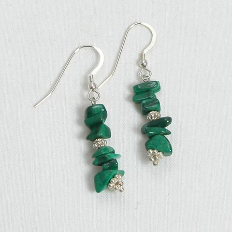 Malachite Gemstone and Silver Earrings (E0097)