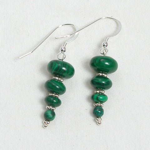 Malachite Gemstone and Silver Earrings (E0098)