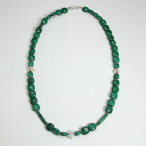 Malachite Gemstone and Silver Necklace (N0029)