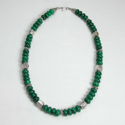 Malachite Gemstone and Silver Necklace (N0030)