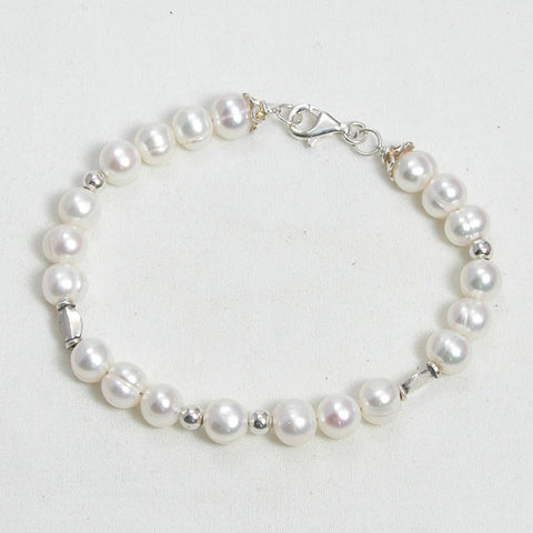 Pearl Gemstone and Silver Bracelet (B0094)