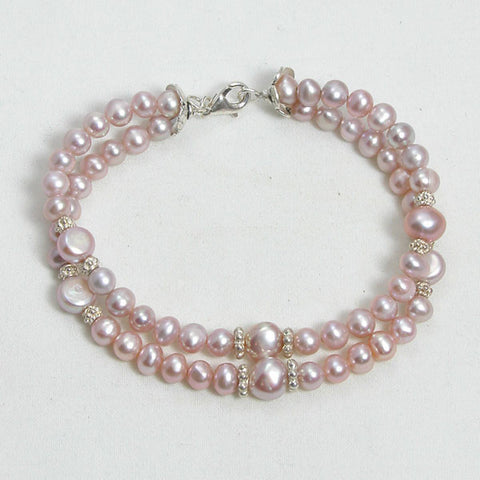 Pearl Gemstone and Silver Bracelet (B0089)