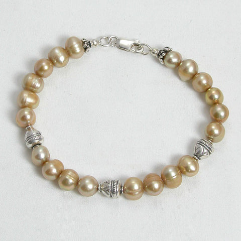 Pearl Gemstone and Silver Bracelet (B0090)