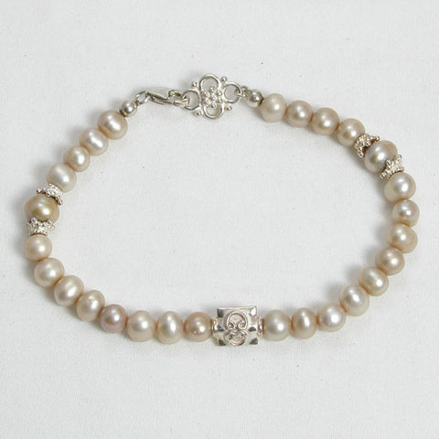 Pearl Gemstone and Silver Bracelet (B0091)