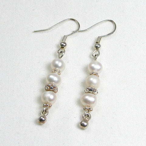 Pearl Gemstone and Silver Earrings (E0108)