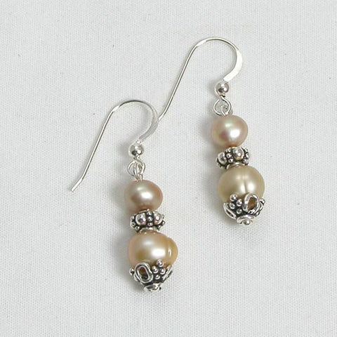 Pearl Gemstone and Silver Earrings (E0112)