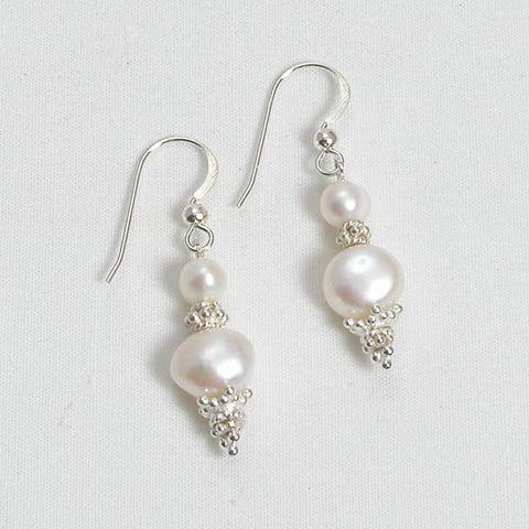 Pearl Gemstone and Silver Earrings (E0114)