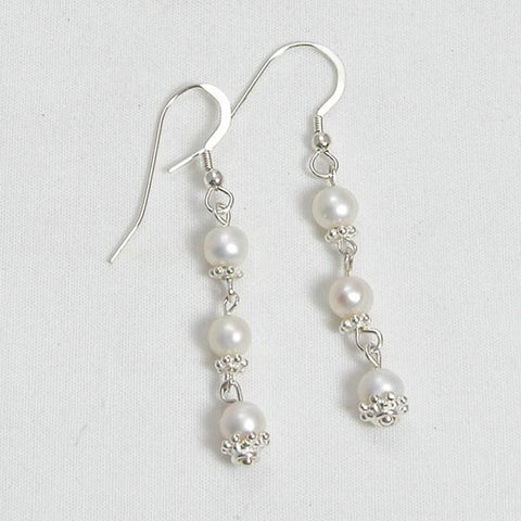 Pearl Gemstone and Silver Earrings (E0115)