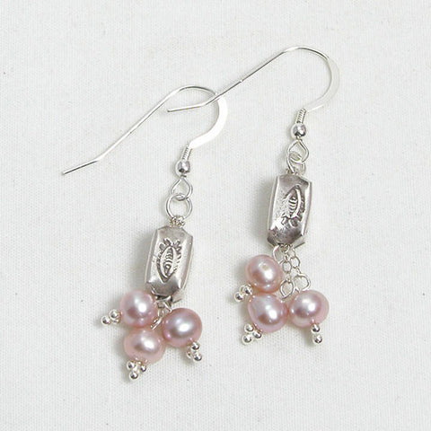 Pearl Gemstone and Silver Earrings (E0110)