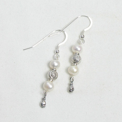 Pearl Gemstone and Silver Earrings (E0117)