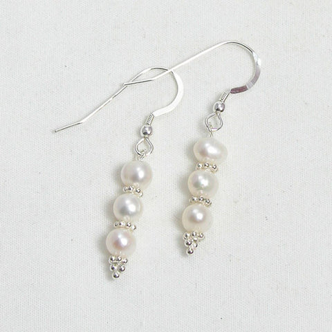 Pearl Gemstone and Silver Earrings (E0116)