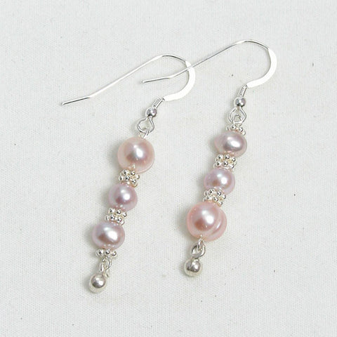 Pearl Gemstone and Silver Earrings (E0111)