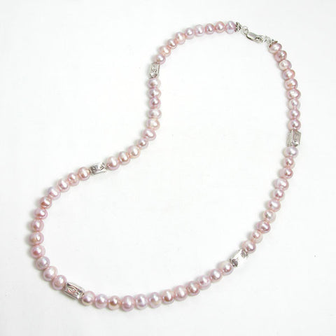 Pearl Gemstone and Silver Necklace (N0035)