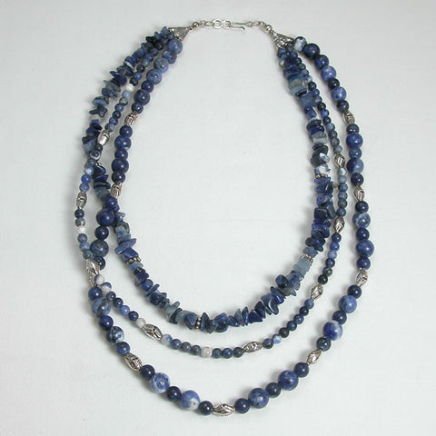 Sodalite Gemstone and Silver Necklace (N0042)