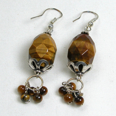 Tiger Eye Gemstone and Silver Earrings (E0159)
