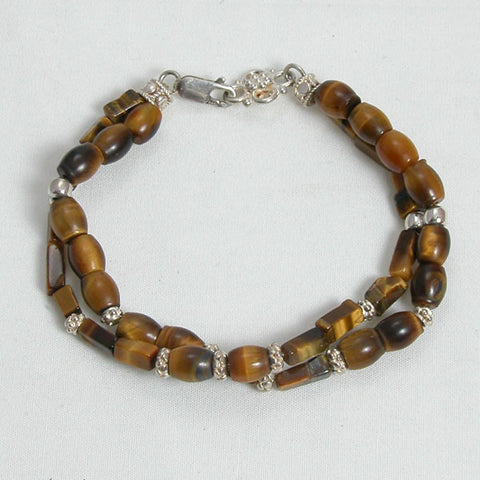 Tiger Eye Gemstone and Silver Bracelet (B0125)