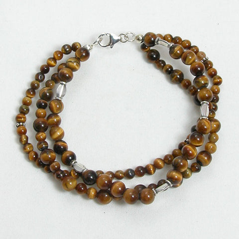 Tiger Eye Gemstone and Silver Bracelet (B0124)